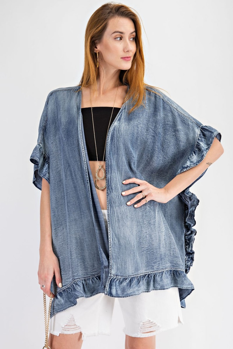 Western style washed denim open cardigan with ruffle detailing posed
