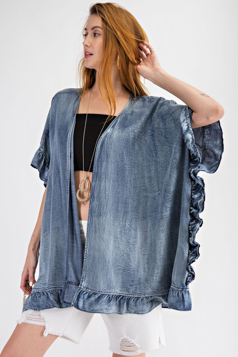 Western style washed denim open cardigan with ruffle detailing