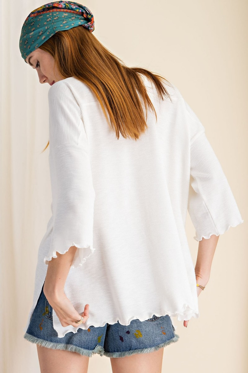 3/4 Sleeves Textured Rayon Rib Double V-Neck Top back