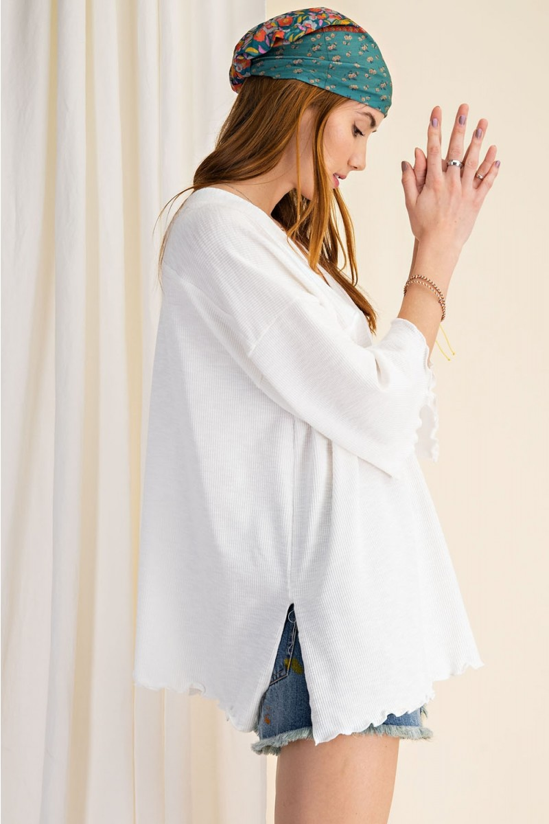 3/4 Sleeves Textured Rayon Rib Double V-Neck Top side