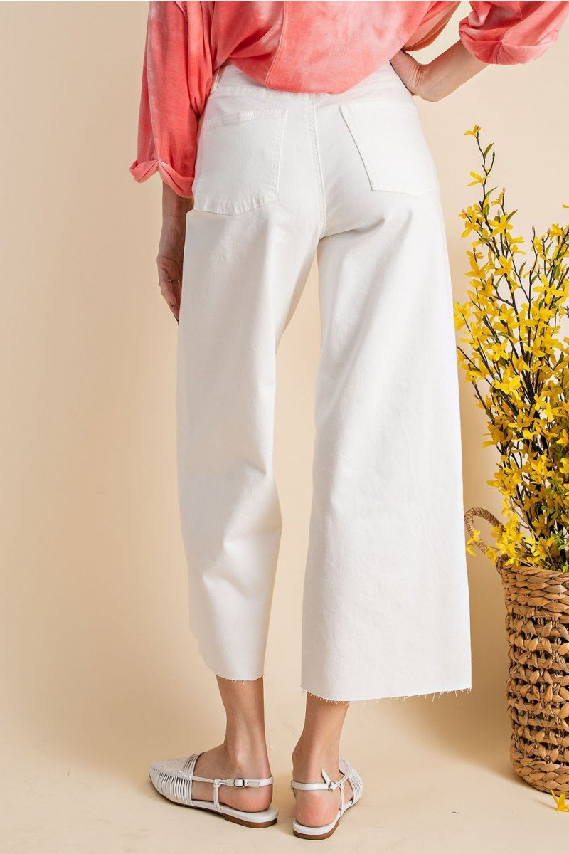 Button front stretch twill bell bottom pants back
