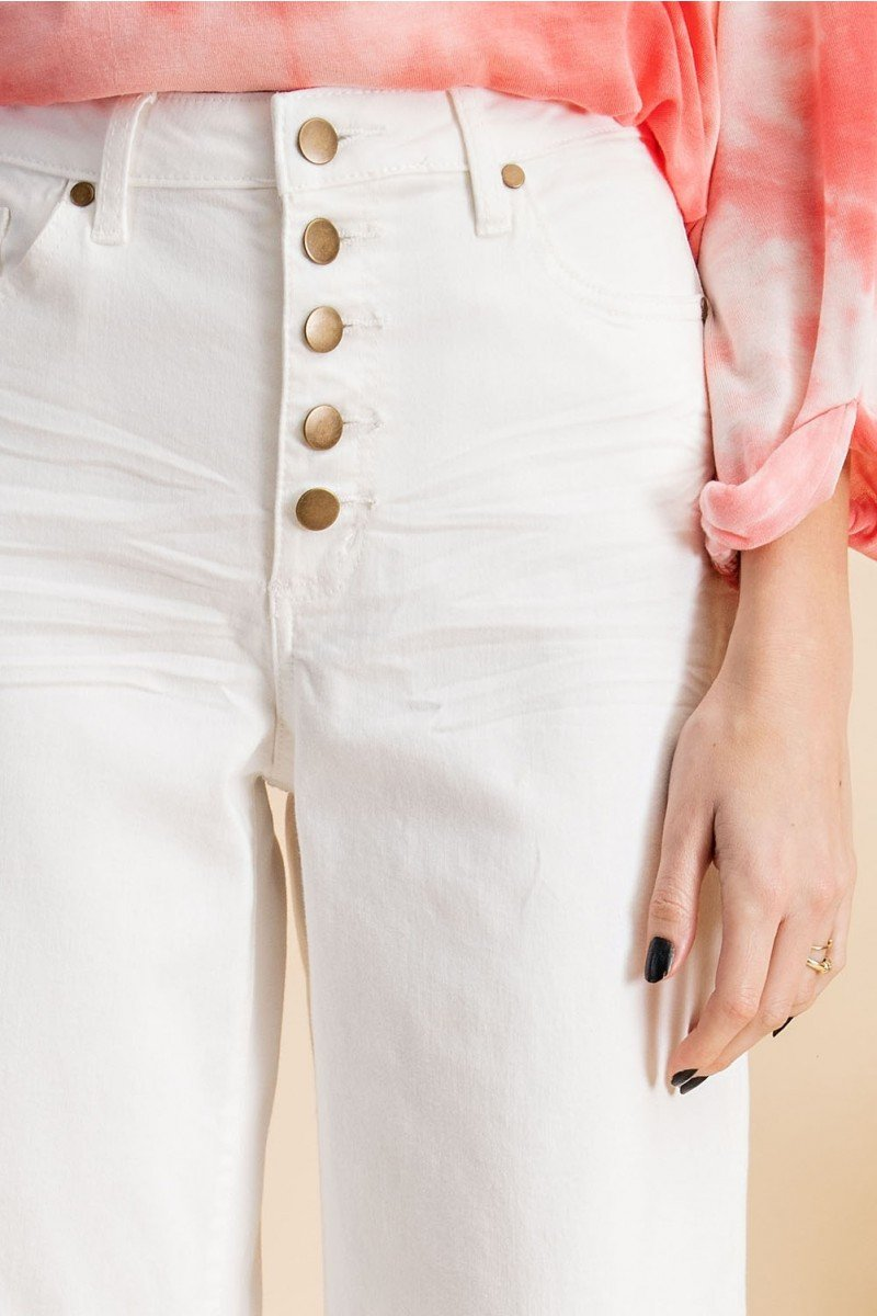 Button front stretch twill bell bottom pants close buttons