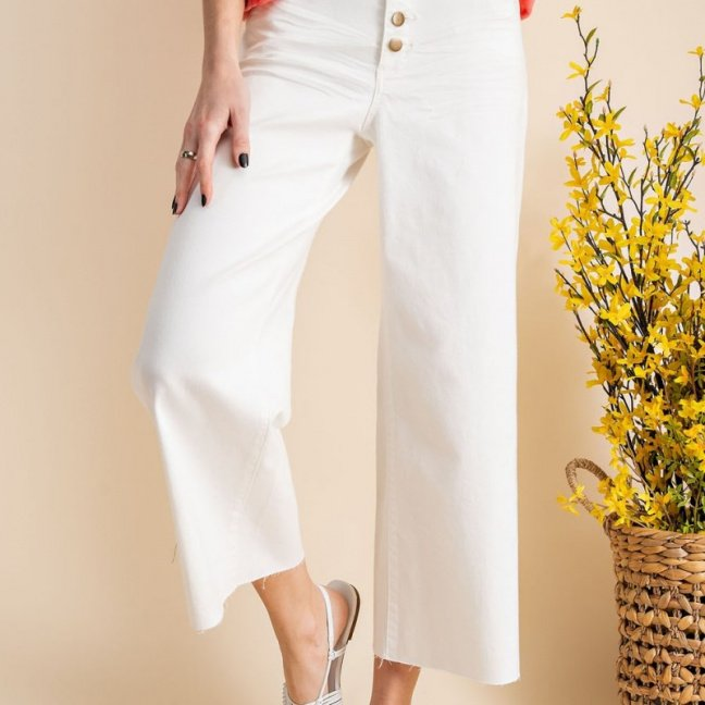 Button front stretch twill bell bottom pants front 2