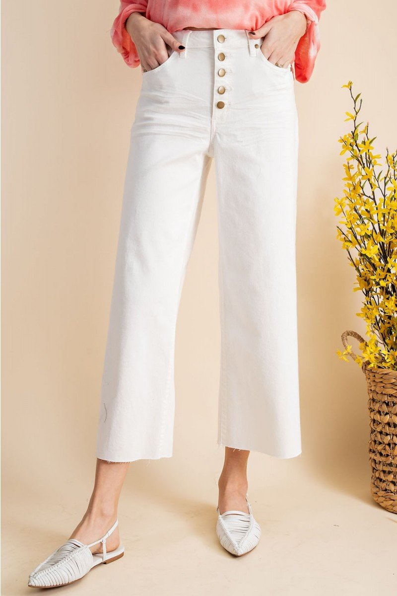 Button front stretch twill bell bottom pants front