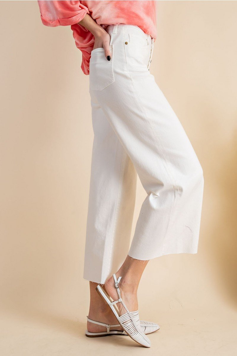 Button front stretch twill bell bottom pants side