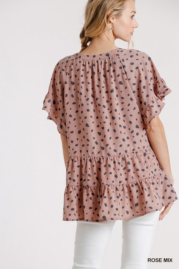 Dalmatian Split Neck Short Ruffle Sleeve Tiered Top with High Low Hem back