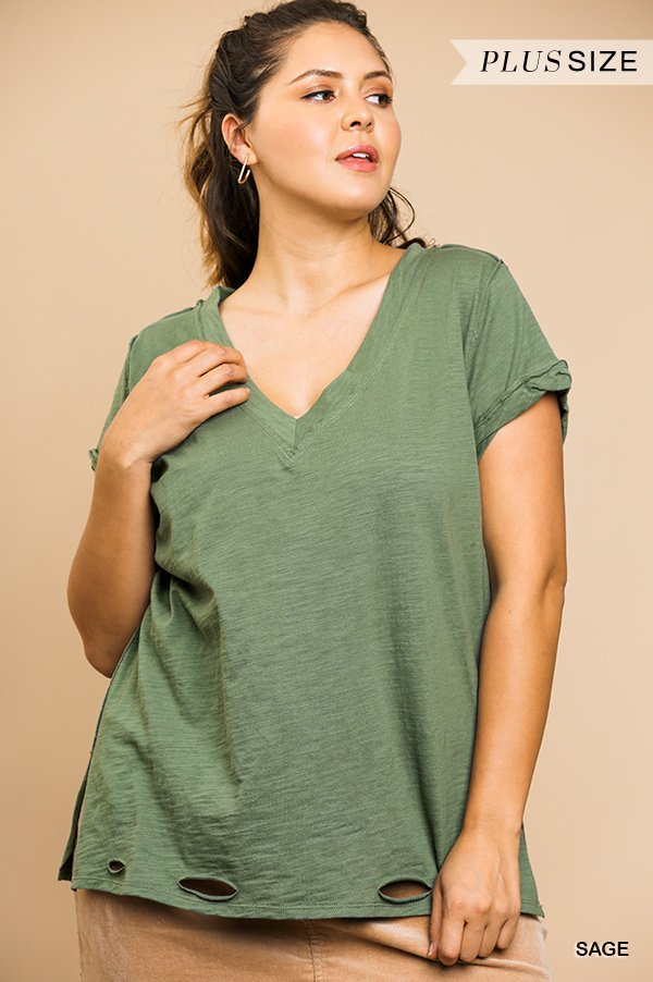 Gathered Short Sleeve V-Neck Knit Top with a Distressed Hem and Side Slits off sage plus front
