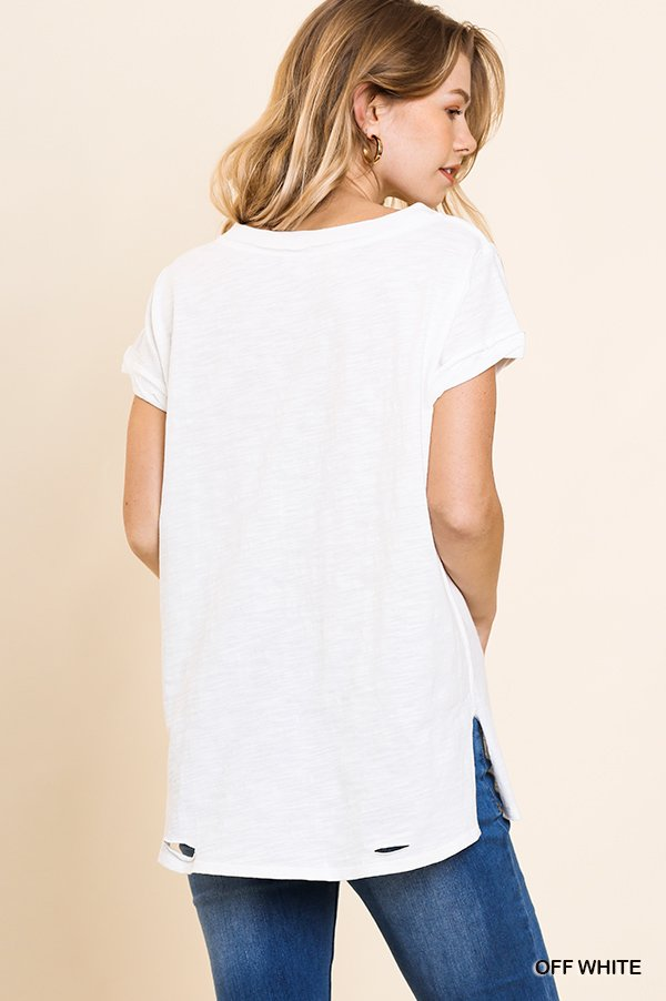 Gathered Short Sleeve V-Neck Knit Top with a Distressed Hem and Side Slits off white back