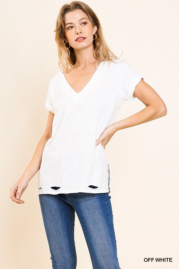 Gathered Short Sleeve V-Neck Knit Top with a Distressed Hem and Side Slits off white full