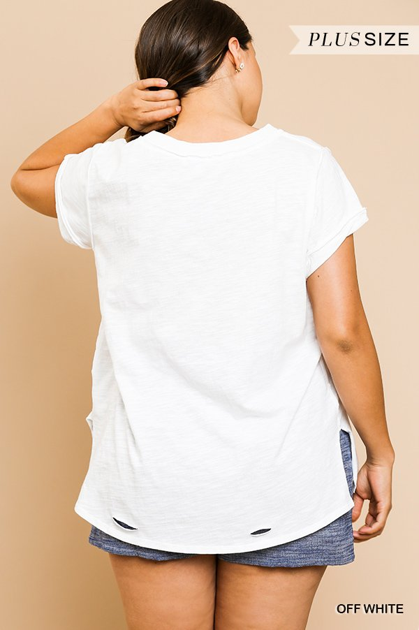 Gathered Short Sleeve V-Neck Knit Top with a Distressed Hem and Side Slits off white plus back