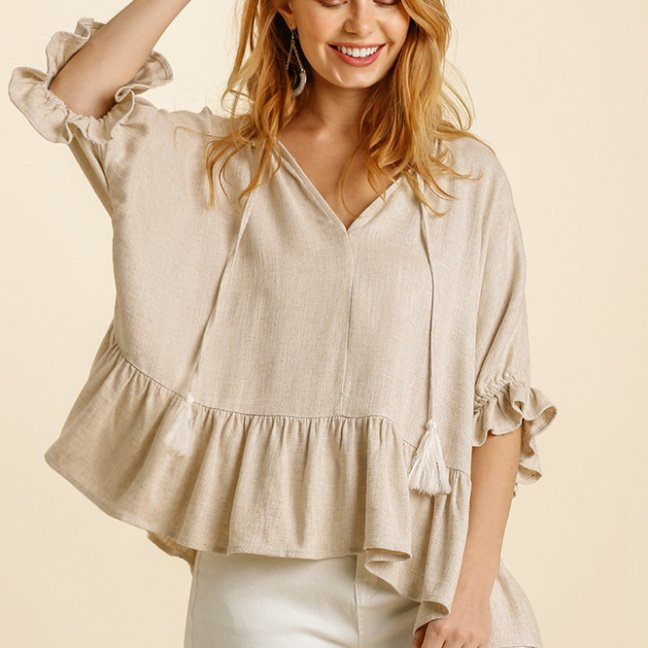 Linen Blend Half Sleeve Top with Front Tassel Tie and Ruffle Hem - Oatmeal