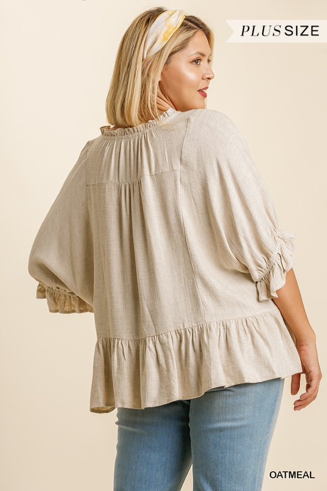 Linen Blend Half Sleeve Top with Front Tassel Tie and Ruffle Hem - Oatmeal Plus back