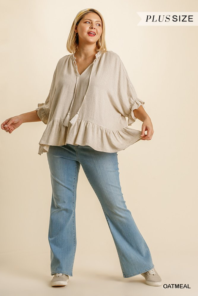 Linen Blend Half Sleeve Top with Front Tassel Tie and Ruffle Hem - Oatmeal Plus full