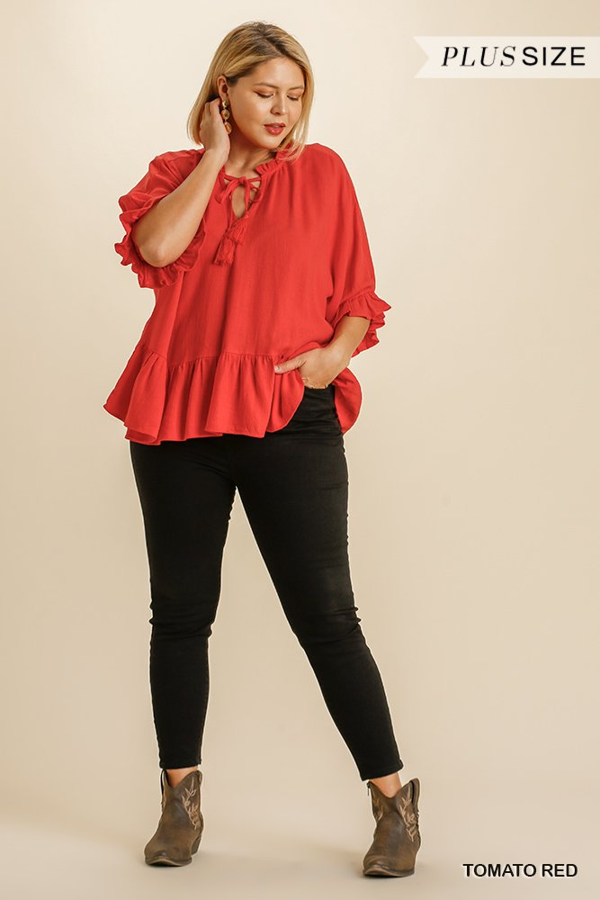 Linen Blend Half Sleeve Top with Front Tassel Tie and Ruffle Hem - Tomato red plus full