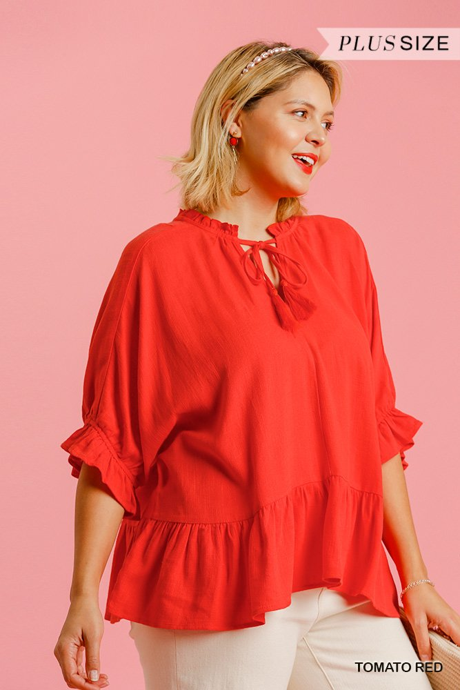 Linen Blend Half Sleeve Top with Front Tassel Tie and Ruffle Hem - Tomato red plus