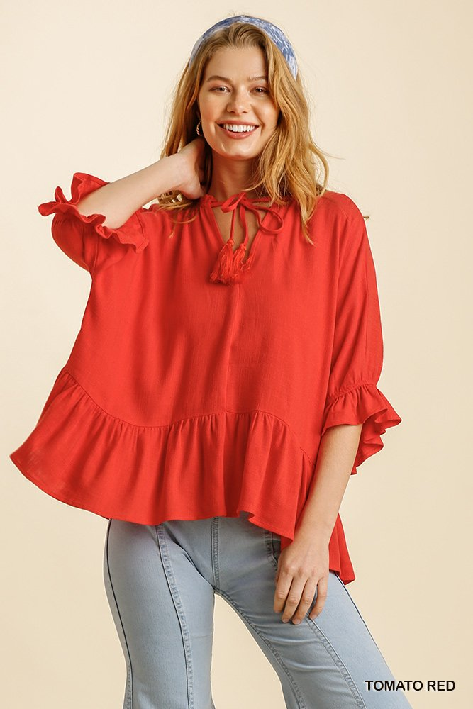 Linen Blend Half Sleeve Top with Front Tassel Tie and Ruffle Hem - Tomato red