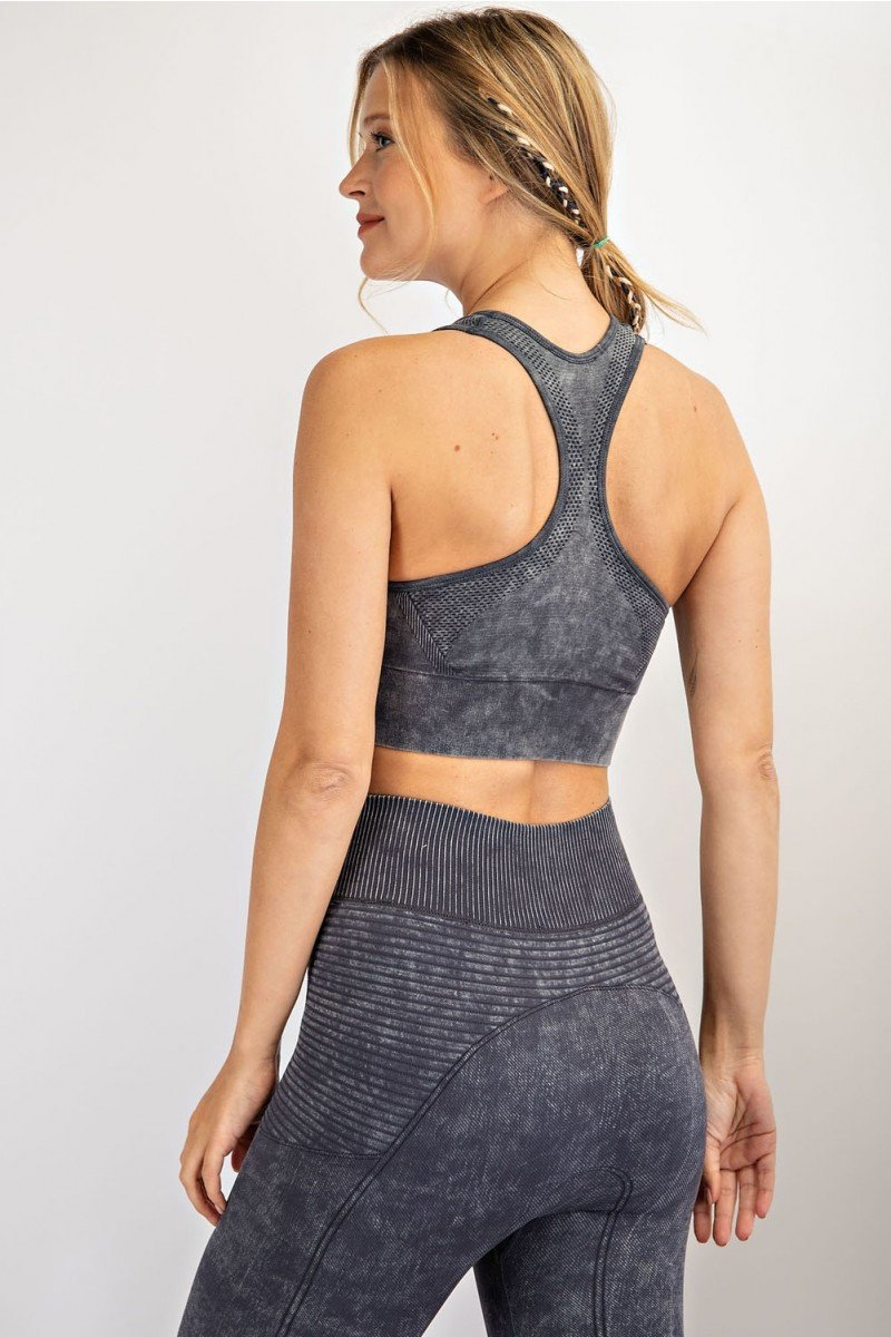 Mineral washed bra cup seamless top - Make a Move Sports Bra back
