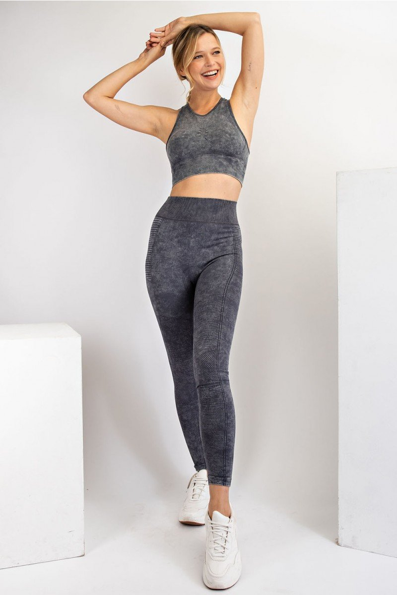 Mineral washed seamless leggings and sports bra - smoke gray