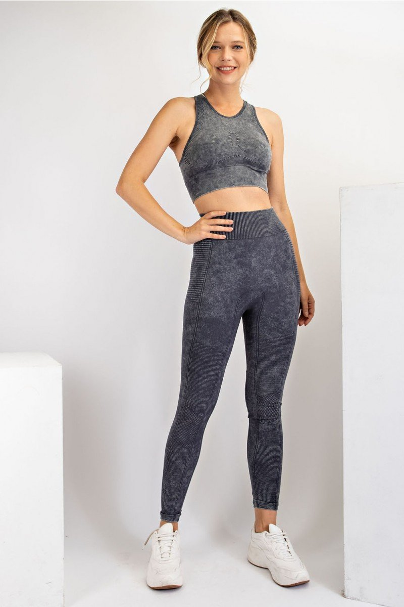 Mineral washed seamless leggings and sports bra top