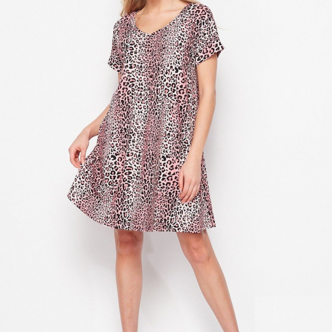 Pink leopard dress with pockets front full