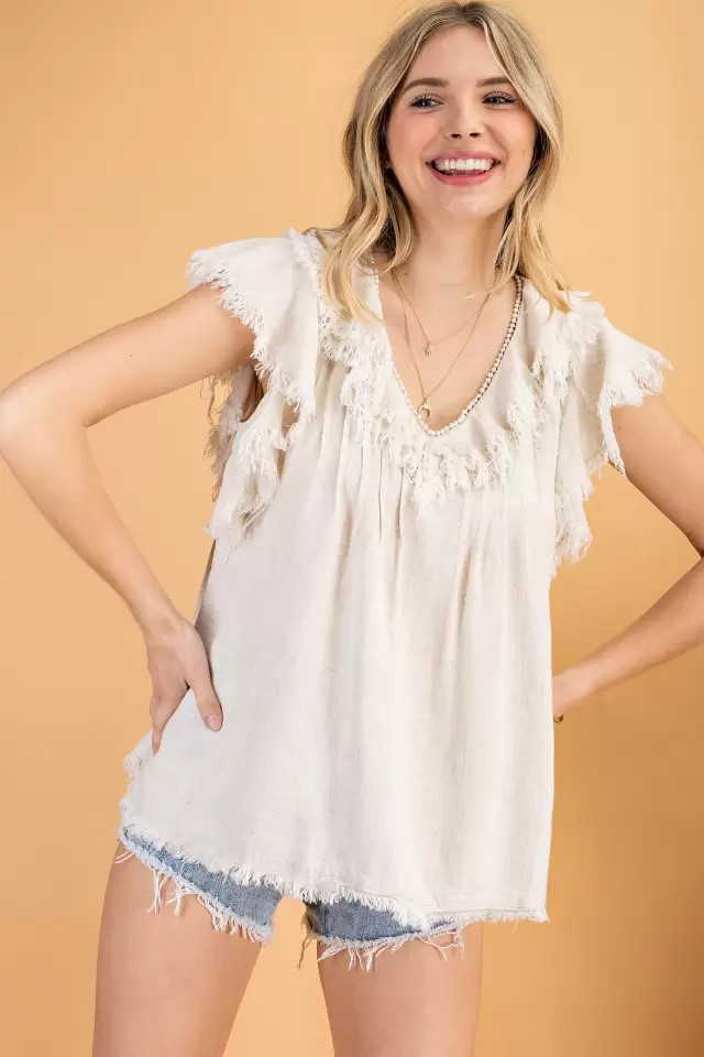 Plus size ruffle sleeve linene woven top oatmeal front hands hip