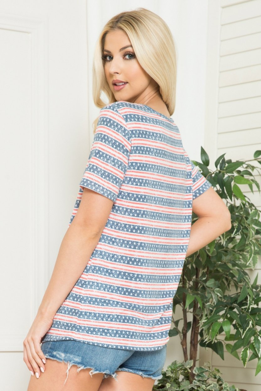 Red, White and Blue, Stars and Stripes Short Sleeve Top with Asymmetrical Neck back