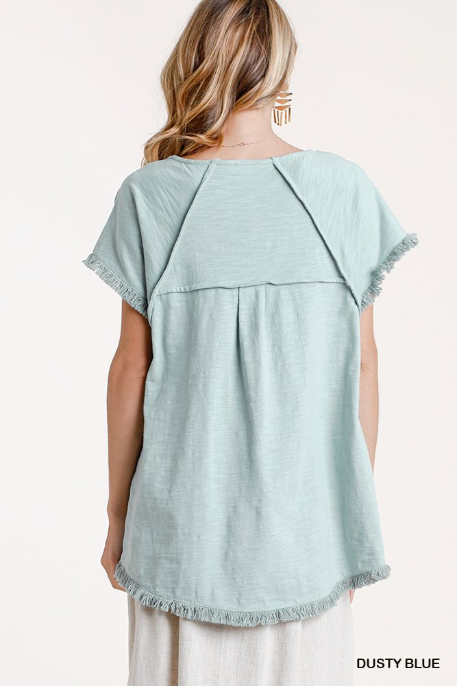 Short Sleeve Round Neck Top with High Low Scoop Frayed Ruffle Hem dusty blue back