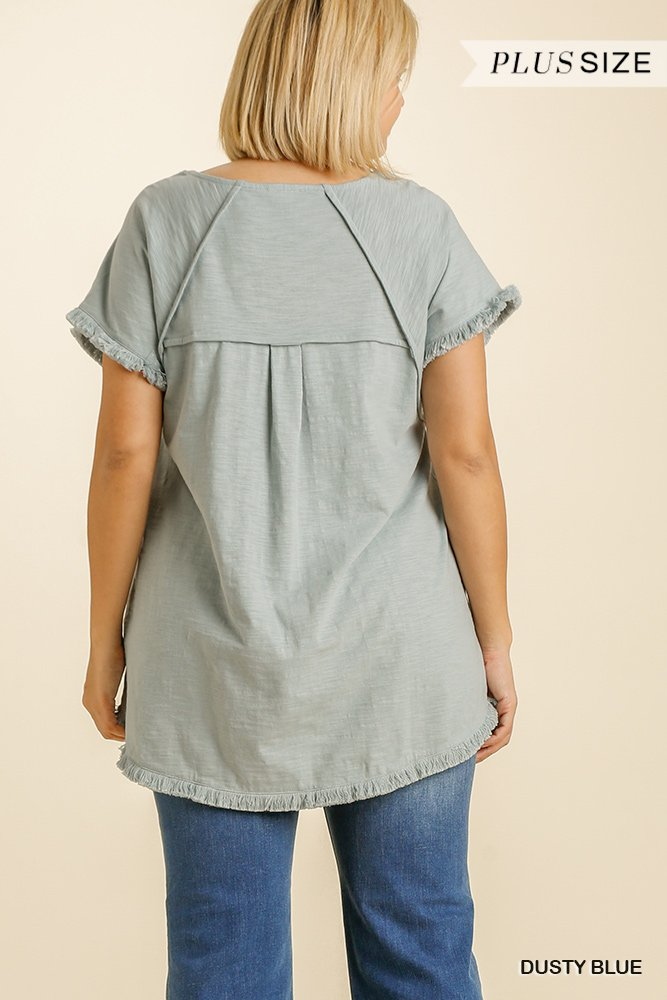 Short Sleeve Round Neck Top with High Low Scoop Frayed Ruffle Hem dusty blue plus back