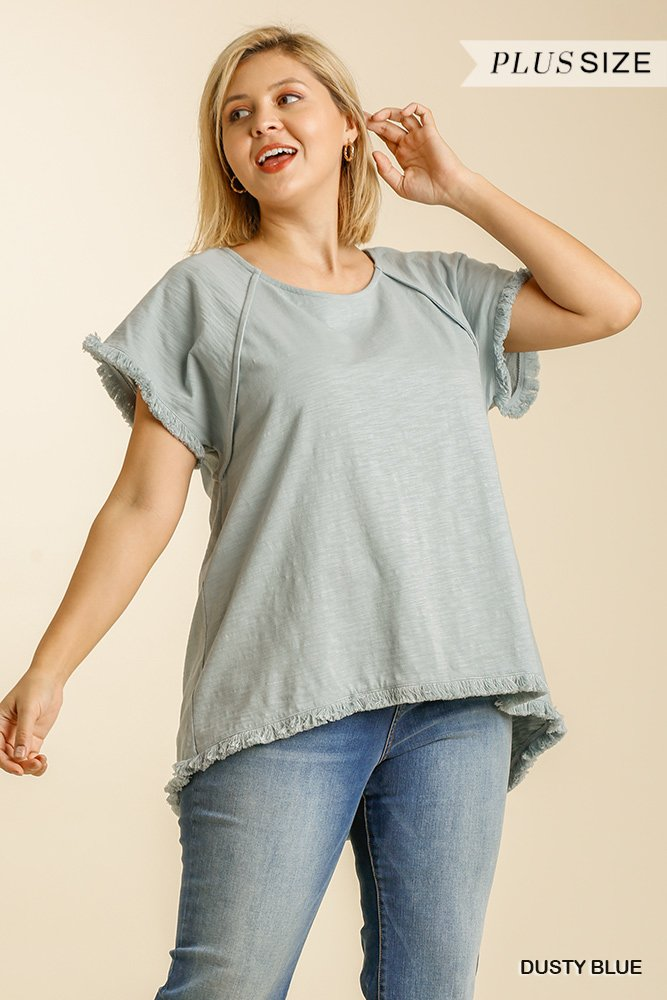 Short Sleeve Round Neck Top with High Low Scoop Frayed Ruffle Hem dusty blue plus front
