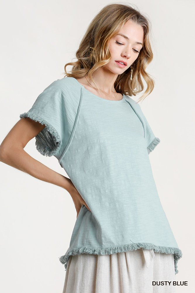 Short Sleeve Round Neck Top with High Low Scoop Frayed Ruffle Hem dusty blue side