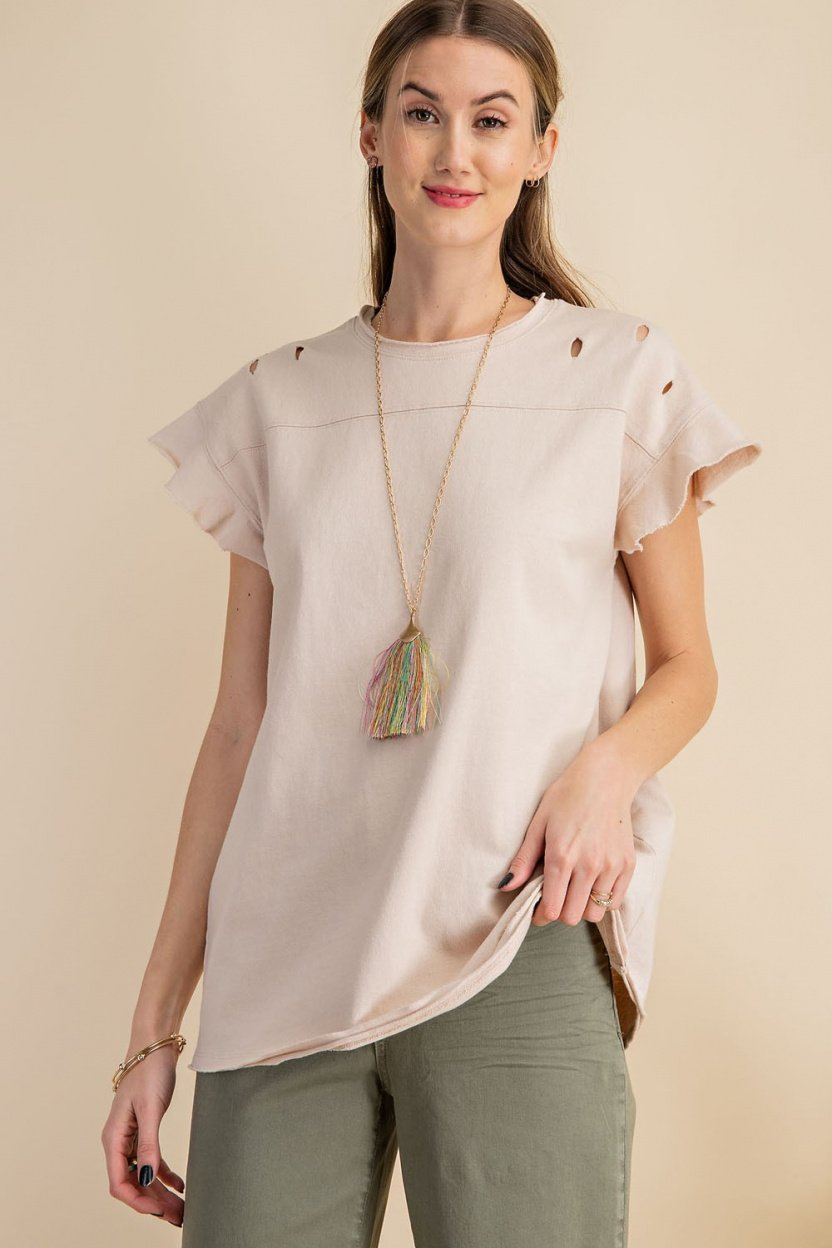 Short sleeve terry knit boxy top front