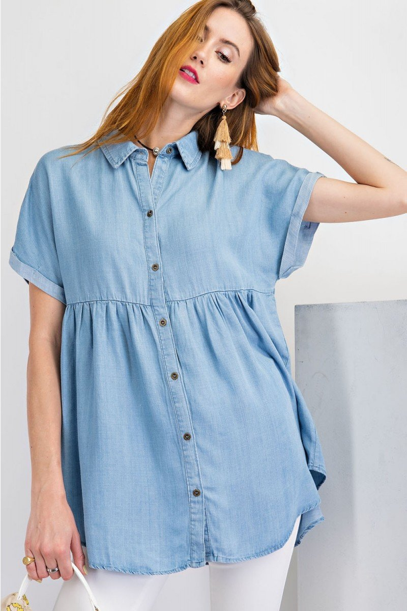 Short sleeve washed denim button down shirt tunic front 2
