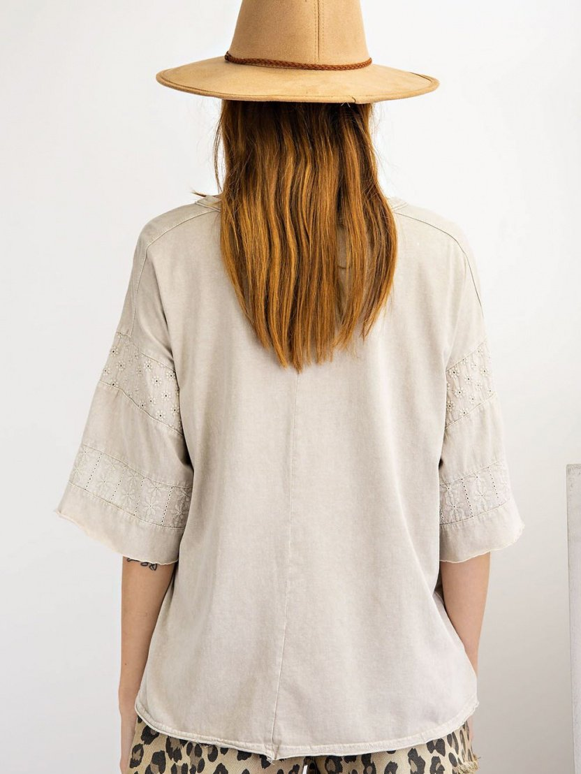 Short Sleeves mineral washed loose fit top back