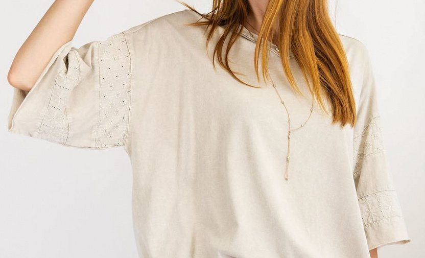 Short Sleeves mineral washed loose fit top close