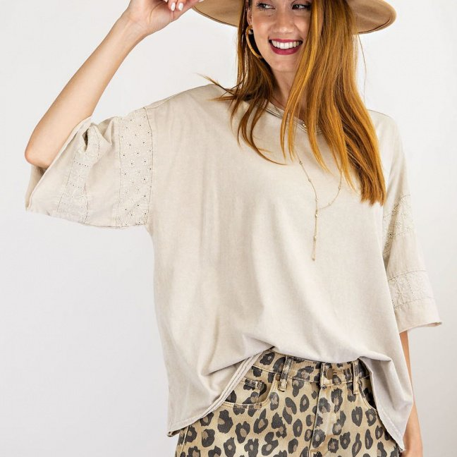 Short Sleeves mineral washed loose fit top front