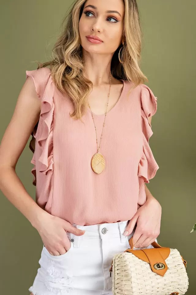 Sleeveless ruffle V-neck woven blouse dusty pink with purse