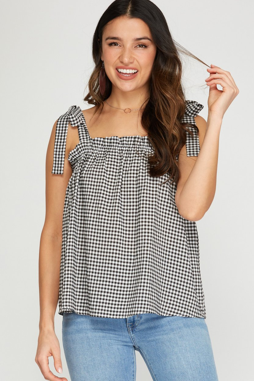 Sleeveless woven gingham top with shoulder ties black full