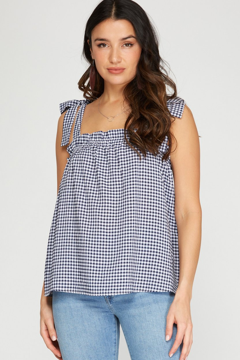 Sleeveless woven gingham top with shoulder ties navy front