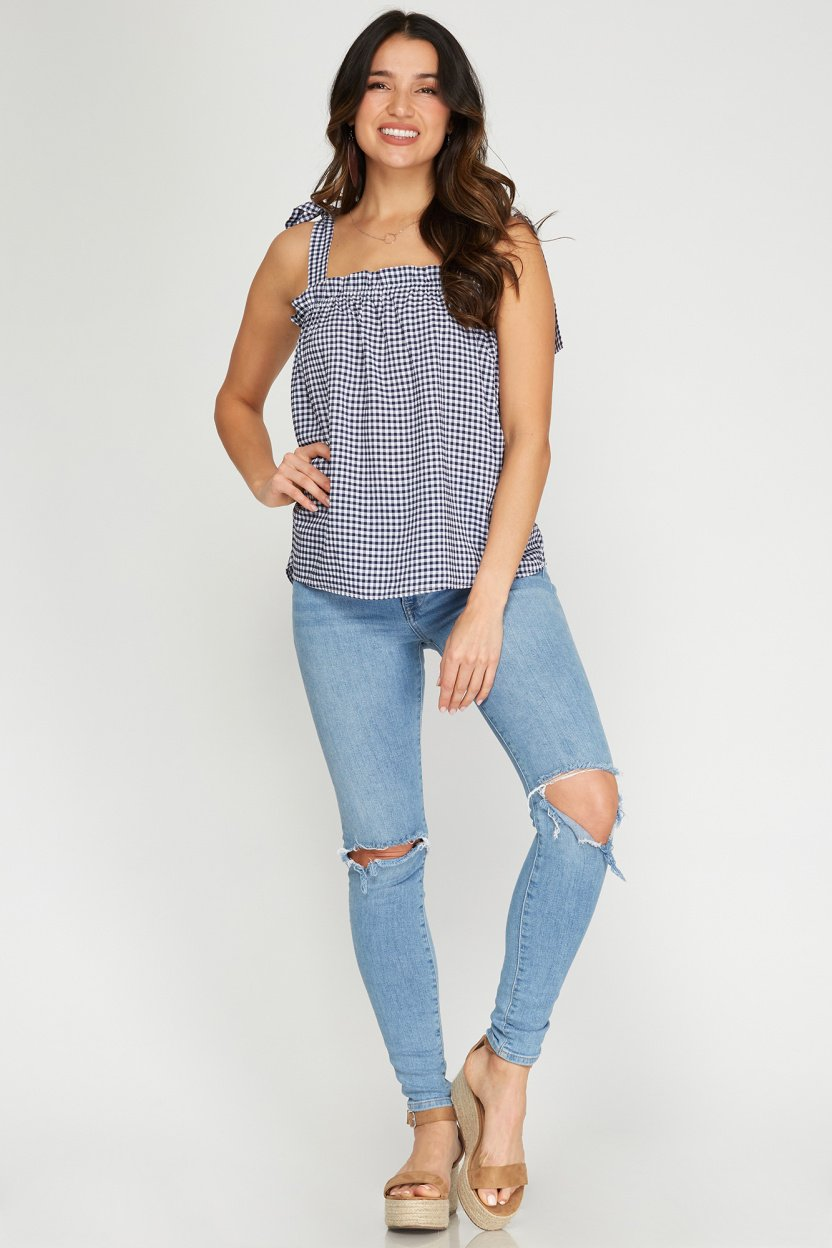 Sleeveless woven gingham top with shoulder ties navy front full
