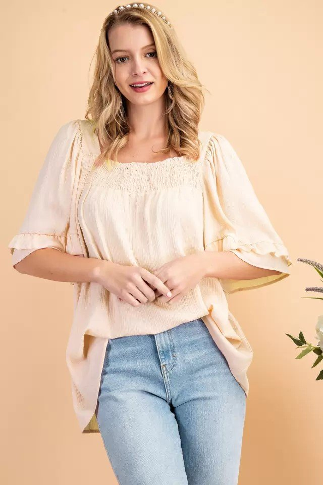 Smocked Square neck Woven Top Pink Natural