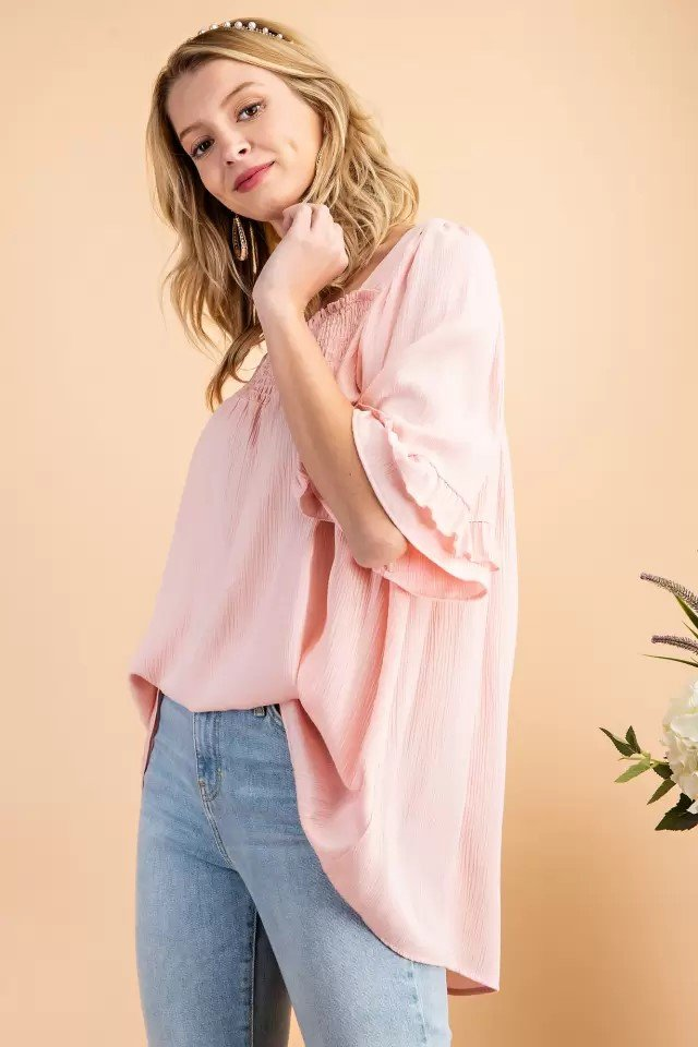 Smocked Square neck Woven Top Pink Side 2