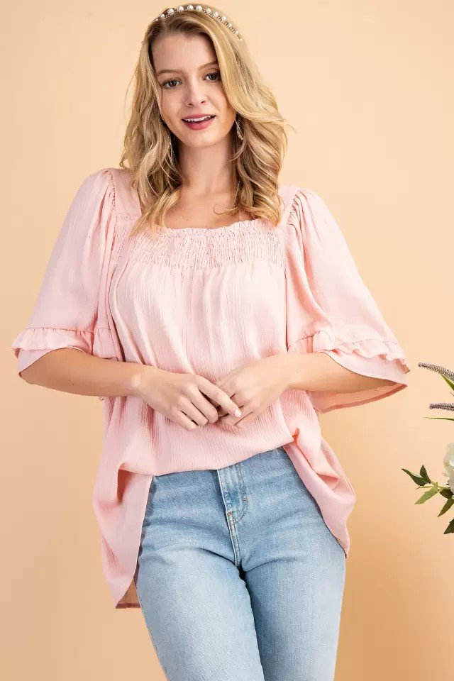 Smocked Square neck Woven Top Pink