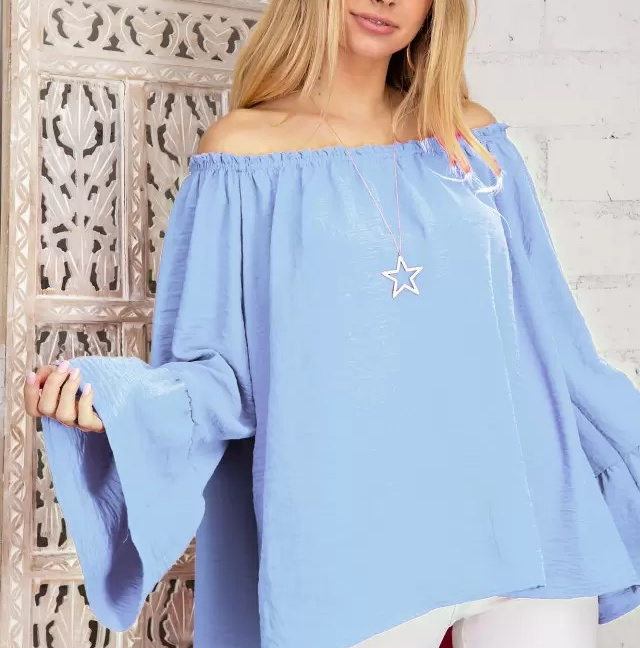 Solid Off-the-Shoulder Top with Bell Sleeves