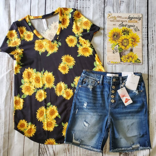 Sunflower Short Sleeve V-Neck Top with shorts