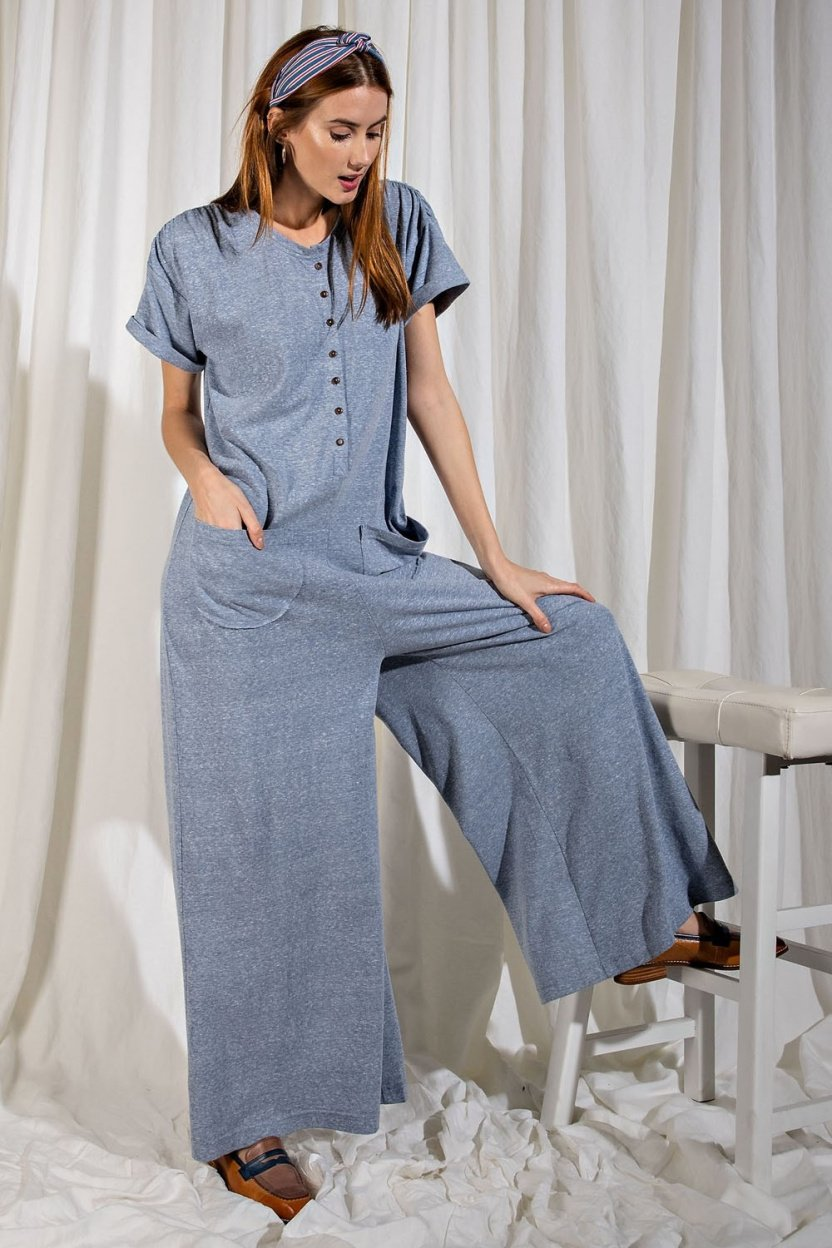 Sweetest Heart Jumpsuit with rolled-up sleeves and full-length wide legs