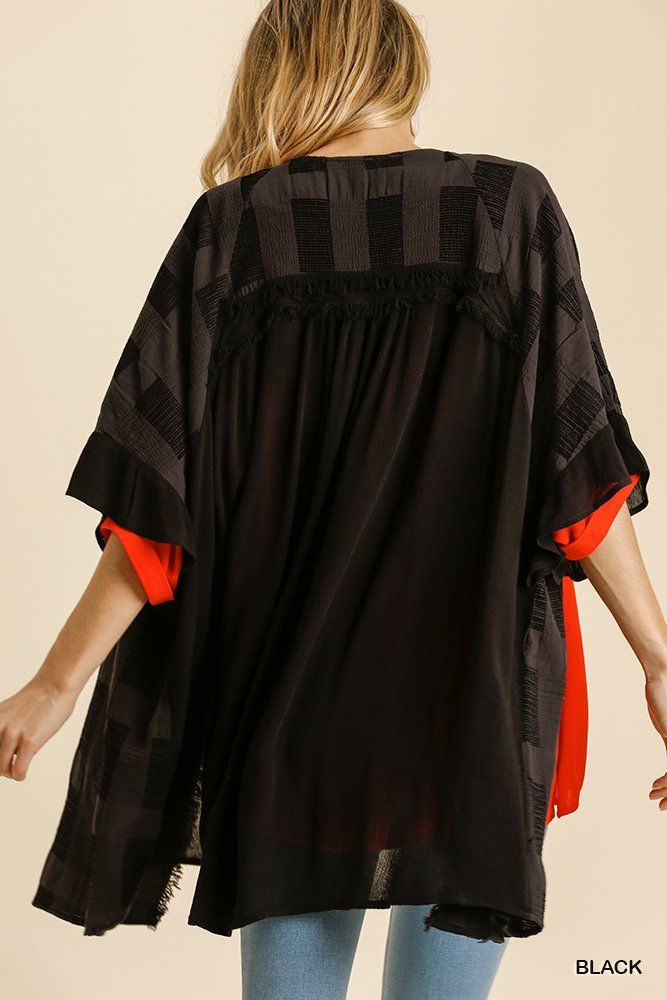 Textured Ruffle Half Sleeve Open Front Kimono with Frayed Edged Details black back