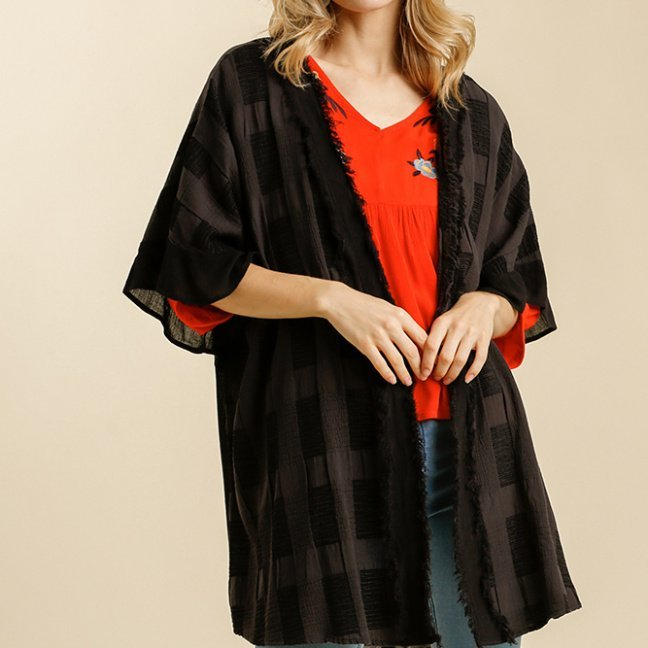 Textured Ruffle Half Sleeve Open Front Kimono with Frayed Edged Details black front