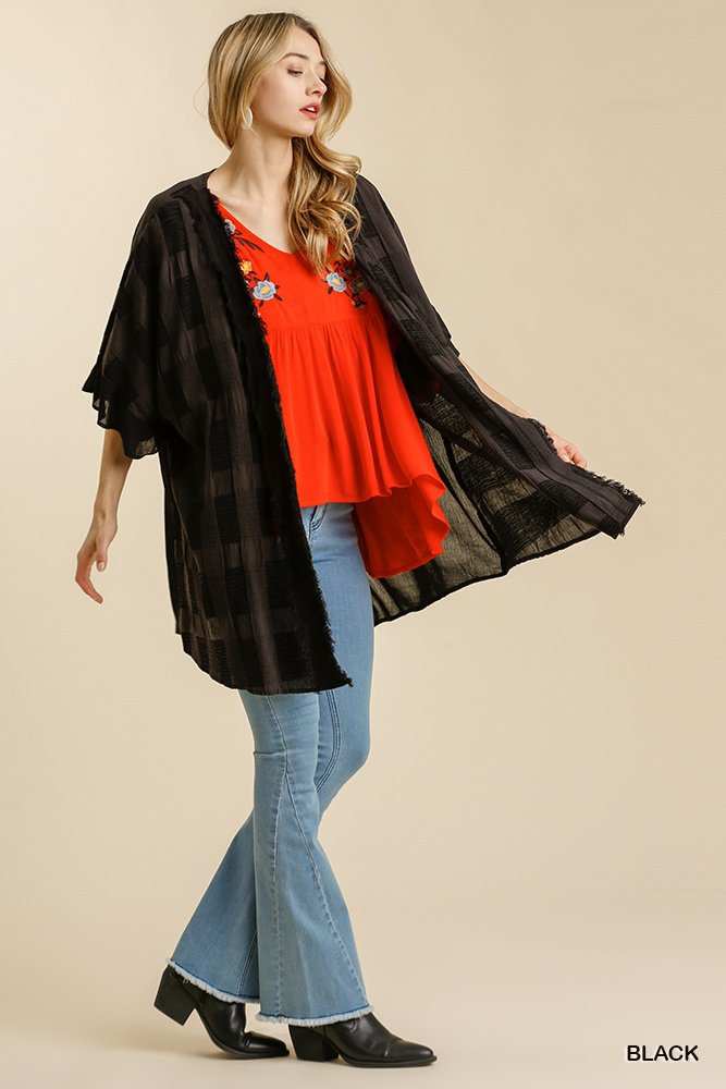 Textured Ruffle Half Sleeve Open Front Kimono with Frayed Edged Details black  full