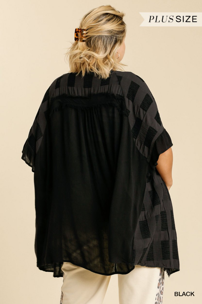 Textured Ruffle Half Sleeve Open Front Kimono with Frayed Edged Details black plus back