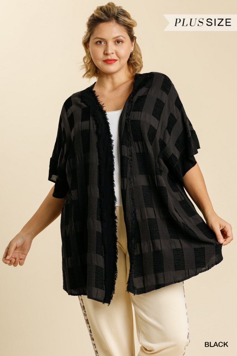 Textured Ruffle Half Sleeve Open Front Kimono with Frayed Edged Details black plus front